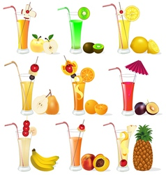 Set of fruit juices from pineapple plum banana p vector