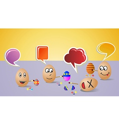 Happy social painters easter eggs vector
