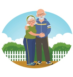 Old couple in track suits vector