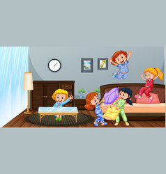 Many children playing in bedroom vector