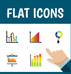 Flat icon graph set of pie bar chart statistic vector