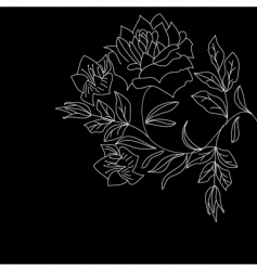 White flowers on black vector