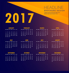 2017 modern calendar design in yellow and purple vector image vector image