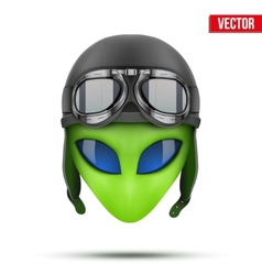 Green alien head in aviator helmet vector