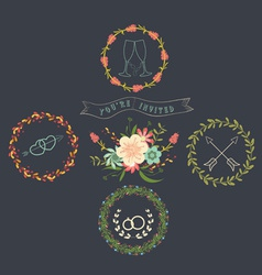 Chalkboard natural floral wreaths vector
