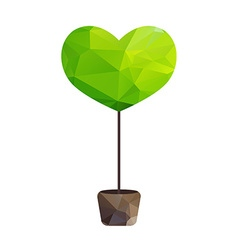 Triangle tree in pot as heart vector