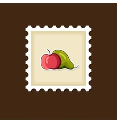 Apple and pear stamp harvest thanksgiving vector