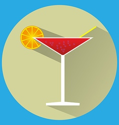 Cocktail glass with drink vector