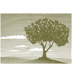 woodcut tree landscape vector image
