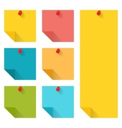 Flat design of colorful pinned sticky notes vector
