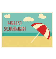 Summer retro card with text vector