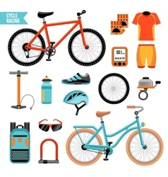Bike and cycling accessories set vector