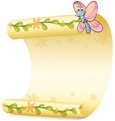 A butterfly and a paper sheet vector image