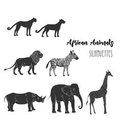 Afri animals silhouettes vector