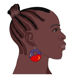 African woman with earring vector
