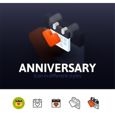 Anniversary icon in different style vector image vector image