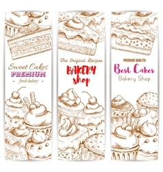 Bakery desserts sketch banners set vector