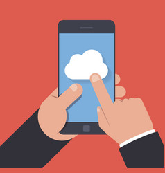 cloud storage icon on the mobile phone screen vector image