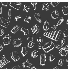 Doodle internet icons seamless background vector