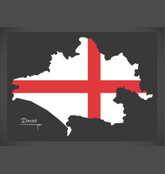 Dorset map england uk with english national flag vector