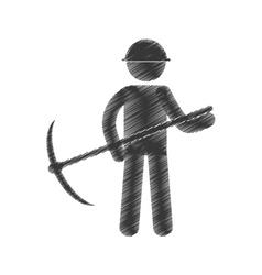 Drawing mining man with helmet pick axe figure vector