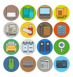 Electronic devices flat line icons vector