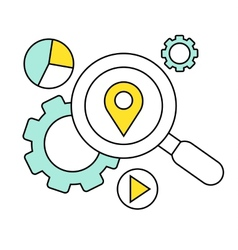 Flat line icon of digital marketing search for vector image