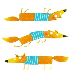 Fox animal character in clothes cartoon set vector