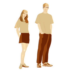 Girl and boy in in clothes for promotion vector