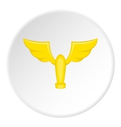 Gold cup with wings icon cartoon style vector image