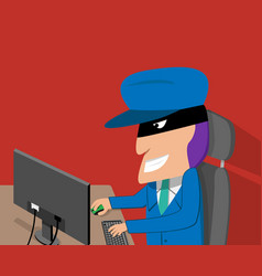 hacker is happy while hacking by desktop computer vector image vector image