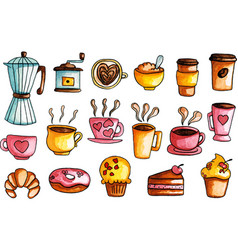 hand drawn watercolor coffee set vector image