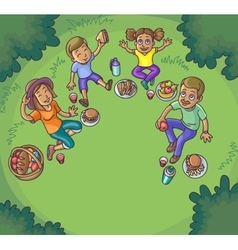 Happy family having picnic outdoors vector