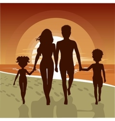 Happy family walking along beach at sunset vector