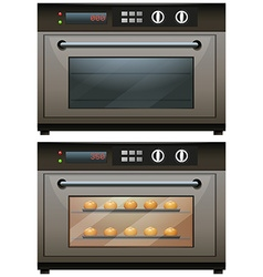 Oven with and without food in it vector image