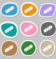 pencil case symbols Multicolored paper stickers vector image