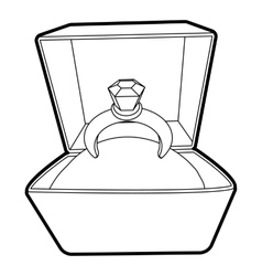 Ring icon outline style vector image