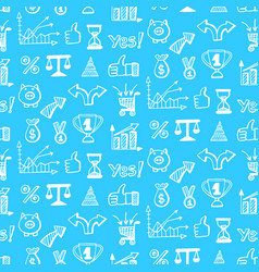 seamless pattern with business doodle icons vector image vector image