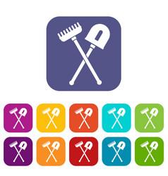 Shovel and rake icons set vector