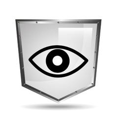 symbol surveillance icon shield steel vector image