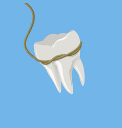 Tooth pulled with rope isometric vector