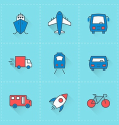 Travel and transportation icons icon set in flat vector