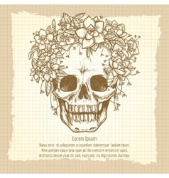 Vintage skull sketch in roses wreath vector