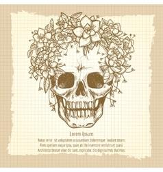Vintage skull sketch in roses wreath vector image vector image