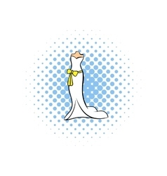 Wedding dress comics icon vector image