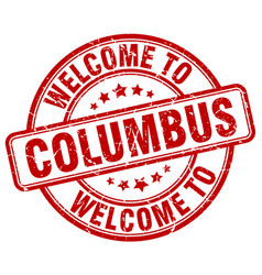 welcome to columbus red round vintage stamp vector image
