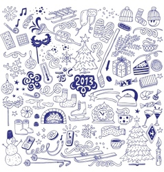 winter - doodles set vector image vector image