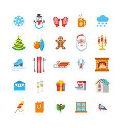 Winter season and christmas flat icons vector