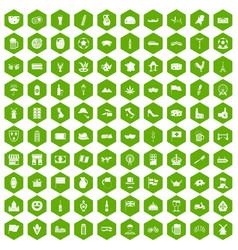 100 europe countries icons hexagon green vector