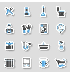 Plumbing service icons sticker set vector